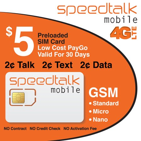 SpeedTalk Mobile T-Mobile Compatible Preloaded $5 Standard Micro and Nano Prepaid SIM (Best Prepaid Card For International Travel)