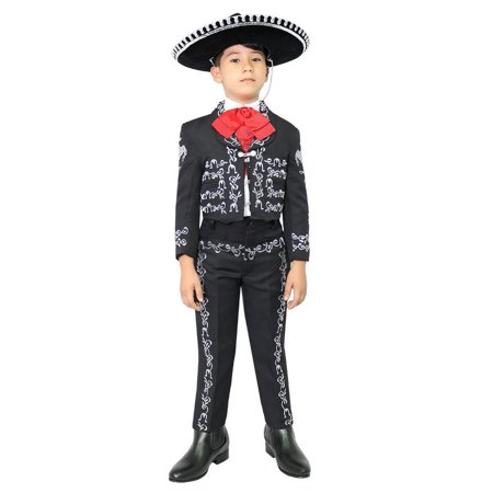 Little Boys Black Silver Embroidered Mariachi Pants Jacket Hat - Mariachi Outfits