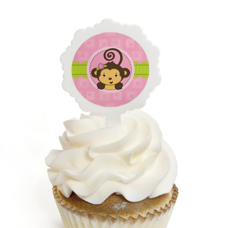 Monkey Girl - Cupcake Picks with Stickers - Baby Shower or Birthday Party Cupcake Toppers - 12 Count
