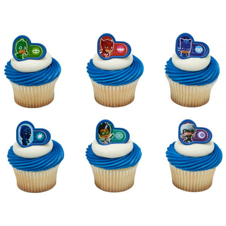 24 Pj Masks Heroes And Villians Cupcake Cake Rings Birthday Party Favors Toppers - Birthday Party At Home