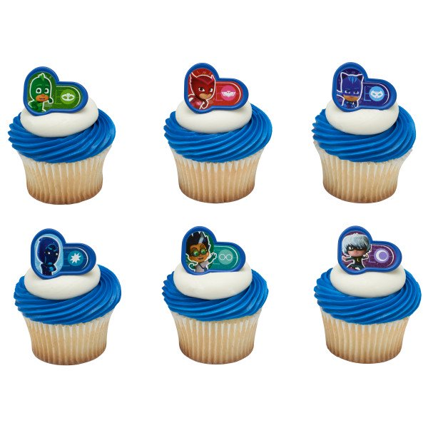 Peachy 24 Pj Masks Heroes And Villians Cupcake Cake Rings Birthday Party Personalised Birthday Cards Cominlily Jamesorg