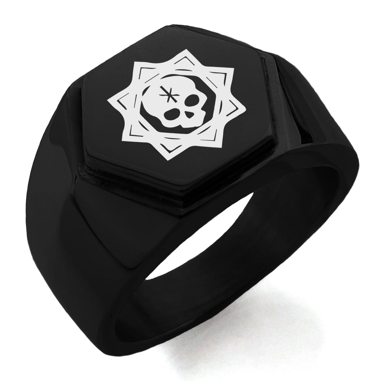 Stainless Steel Necromancy Magic Rune Hexagon Crest Flat Top Biker Style Polished Ring