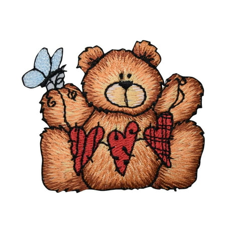 Teddy Bear - String of Hearts - Butterfly - Iron on Applique/Embroidered - String Teddy