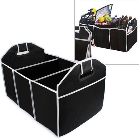 Car Trunk Organizer Cargo Organizer Folding Caddy Storage Collapse Bag Bin for Car Truck SUV 3 Section Collapsible Storage Box