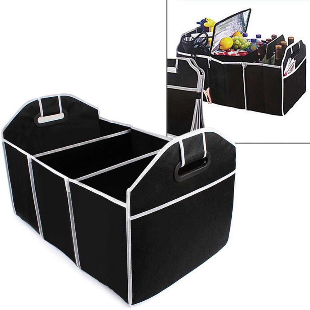 Car Trunk Organizer Cargo Organizer Folding Caddy Storage Collapse Bag Bin for Car Truck SUV 3 Section Collapsible Storage Box