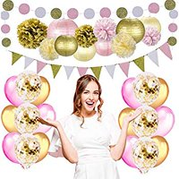 Party Decorations for Girls Women by , Pink Gold Party Decorations Includes Pom Poms, Lanterns, Glitter Garlands, Balloons, Bachelorette Party Decorations (Gold & Pink Party Decoration).