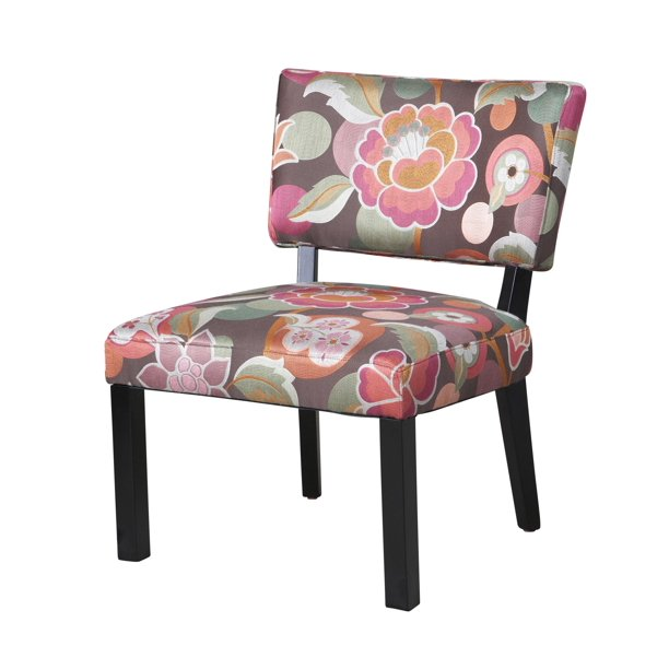 Pink & Brown Floral Accent Chair