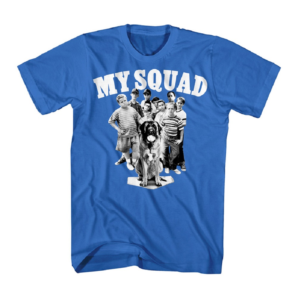 Sandlot Baseball Comedy Movie My Squad Dog Cast Blue Adult T-Shirt Tee