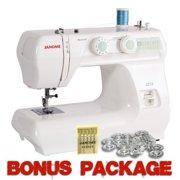 janome 2212 12 stitch fullsize freearm sewing machine, 860spm & free bonus package