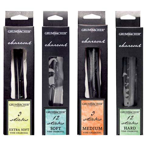 Grumbacher - Vine Charcoal - Medium, 3/Pkg.