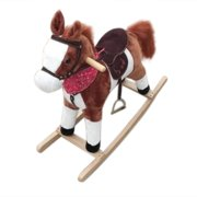 Wooden Rocking Horse, Kids Plush Ride On Pony, Personalized Animated Rocking Horse with Sounds, Rocking Toy, Rocking Animals, Ride On Toy for Boy & Girl Age 3 Years and up, Brown Pony Gift, W4635