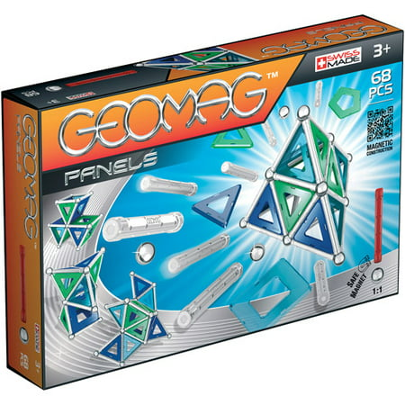 GeoMag Kids Panels Magnetic Construction System Set, 68 Pieces