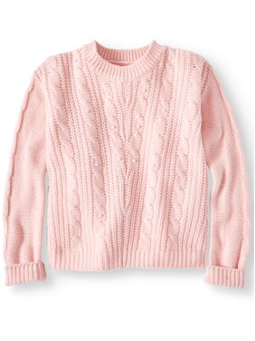 Pink Angel Pearl Cable Knit Sweater (Little Girls & Big Girls)