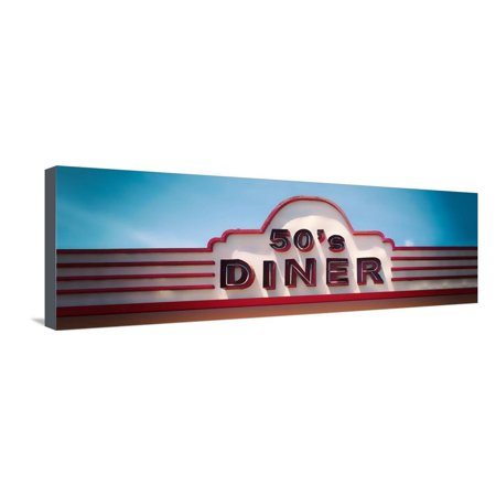 Low angle view of restaurant, 50s Diner, Baguio City, Luzon, Philippines, USA Stretched Canvas Print Wall Art