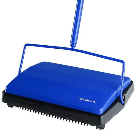 Casabella Carpet Sweeper - 11 Inch Wide Lightweight Electrostatic Floor Cleaner - Blue
