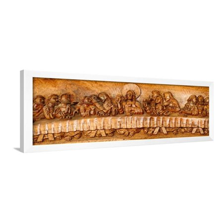 Last supper sculptures carving on wall, Vigan, Ilocos Sur, Philippines Framed Print Wall Art