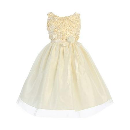 Little Girls Ivory Satin Floral Embroidery Tulle Overlay Flower Girl Dress