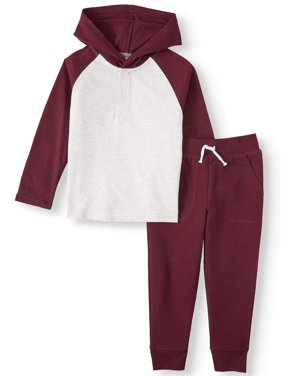Garanimals Long Sleeve Hoodie & French Terry Joggers, 2pc Outfit Set (Toddler Boys)