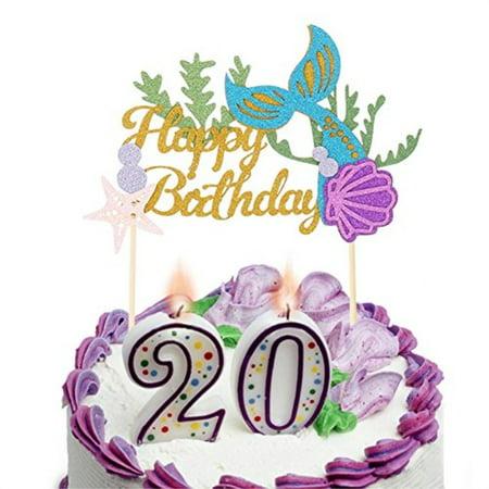 Carnival Theme Cake (Mermaid Theme Glitter Happy Birthday Cake Topper Baby Shower Birthday Party Cupcake Decoration)