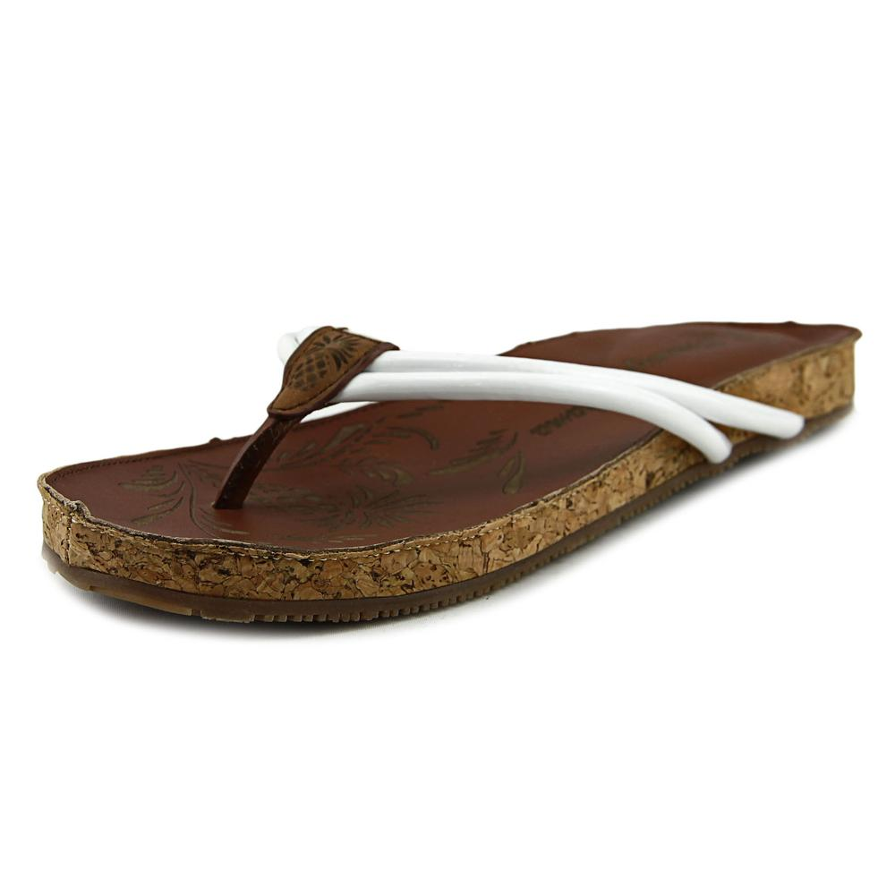 Tommy Bahama Takimi Women Open Toe Leather White Slides Sandal by Tommy Bahama