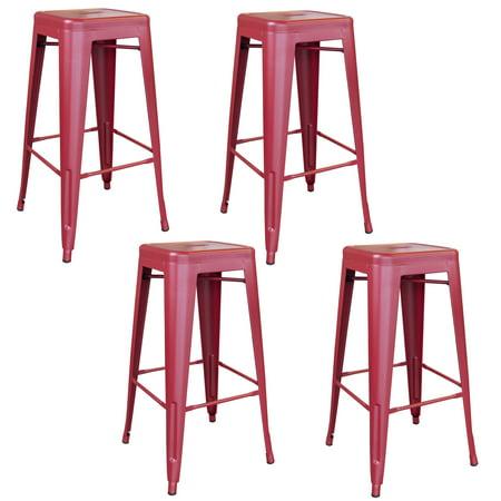 Groovy Amerihome Indoor Outdoor 30 Inch Metal Bar Stool Set 4 Piece Inzonedesignstudio Interior Chair Design Inzonedesignstudiocom