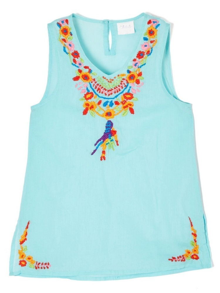 Azul Little Girls Aqua Multi Color Floral Pocahontas Sleeveless Tunic