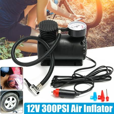 300PSI DC 12V Portable Mini Air Compressor Pump Auto Car Electric Tire Inflator Bike Ball Tyre Inflator Bicycle Pressure Pump Tire