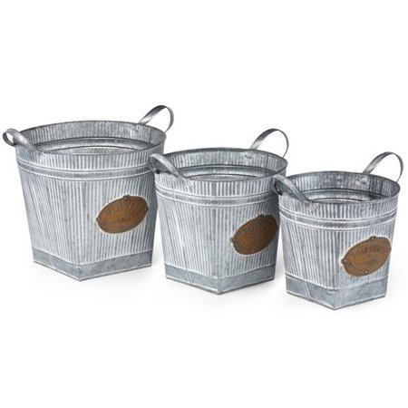 Attractive Washed Finish Round Galvanized Planters, White (Set Of 3)