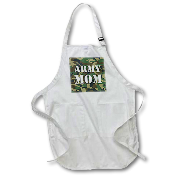3dRose Army Mom Green Camouflage, Medium Length Apron, 22 by 24 - inch, With Pouch Pockets