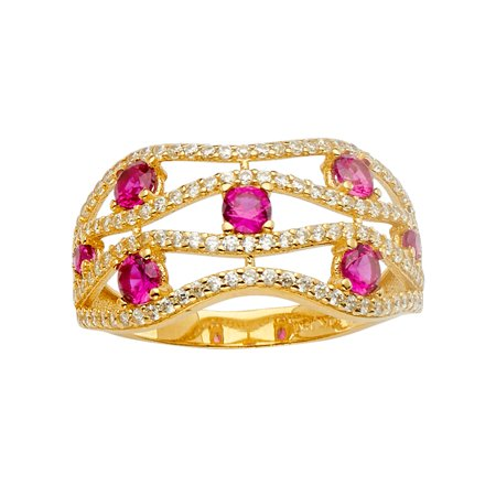 Multi Pave Gems (Jewels By Lux14K Yellow Gold Multi Line Micro Pave Cubic Zirconia CZ Fashion Anniversary Ring Size 5.5 )