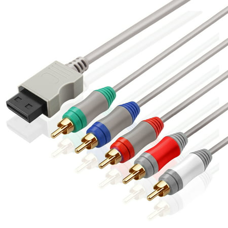 Wii / Wii U Component Cable – 5 RCA Video & RCA Stereo Audio AV Cord Wire Compatible with Nintendo Wii & Wii U to HDTV EDTV High Definition [Nintendo Wii] [Nintendo Wii U]