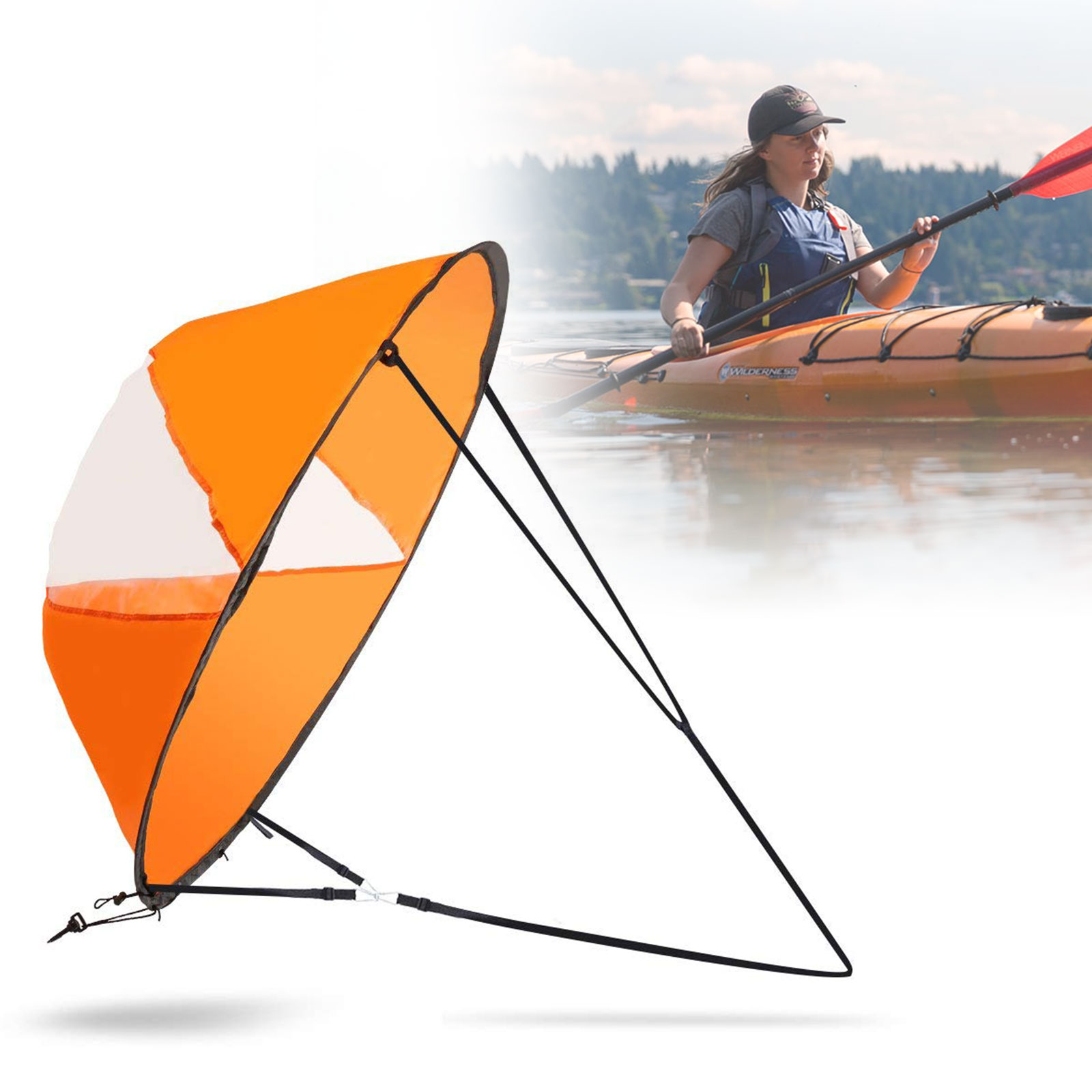 "EEEKit 42"" Kayak Downwind Kit  Foldable Wind Paddle Kit Sail Sup Paddle Board Instant Popup Wind Sail for Kayak Sailboat Canoe Boat"