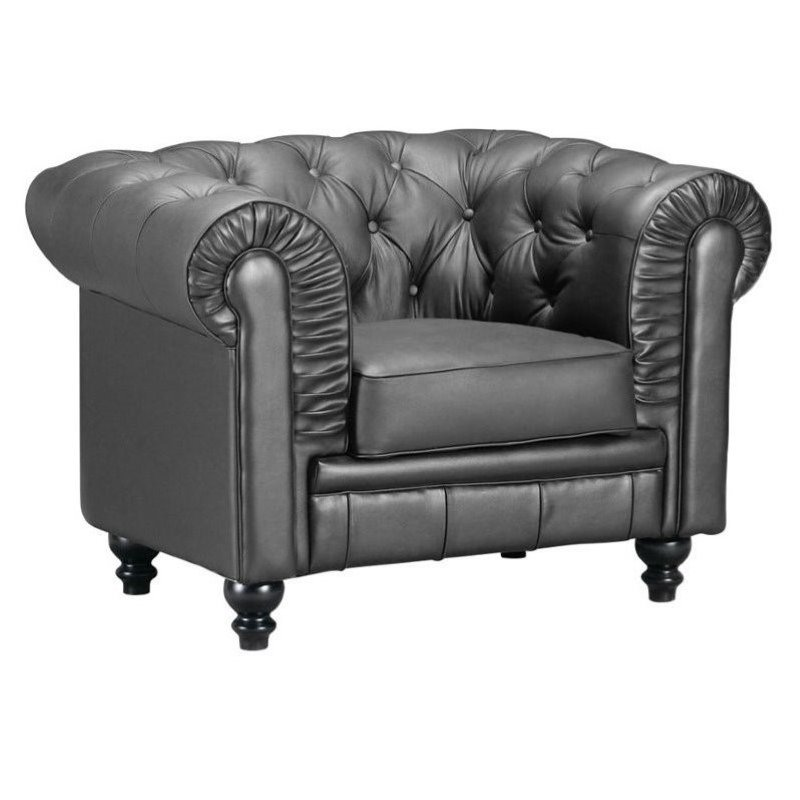 Brika Home Leather Armchair in Black by Brika Home