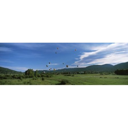 Hot air balloons rising Hot Air Balloon Rodeo Steamboat Springs Routt County Colorado USA Canvas Art - Panoramic Images (18 x