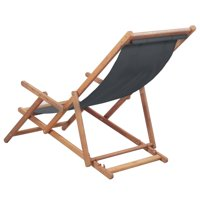 HERCHR Folding Beach Chair Fabric and Wooden Frame Gray