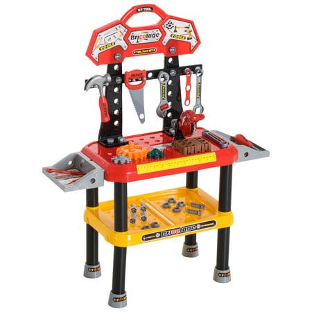 Qaba 74 Piece Kids Pretend Play Toy Tool Workshop Bench Table Set](Tool Workshop)