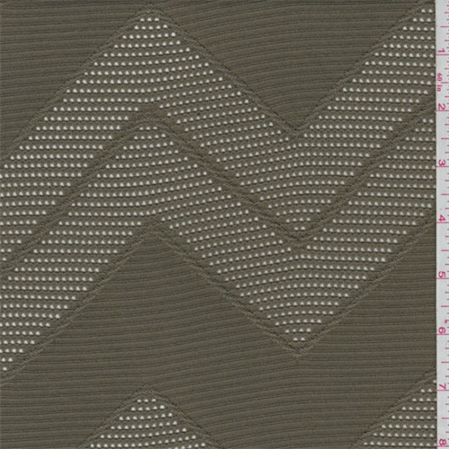 Olive Drab Chevron Stretch Lace, Fabric By the Yard