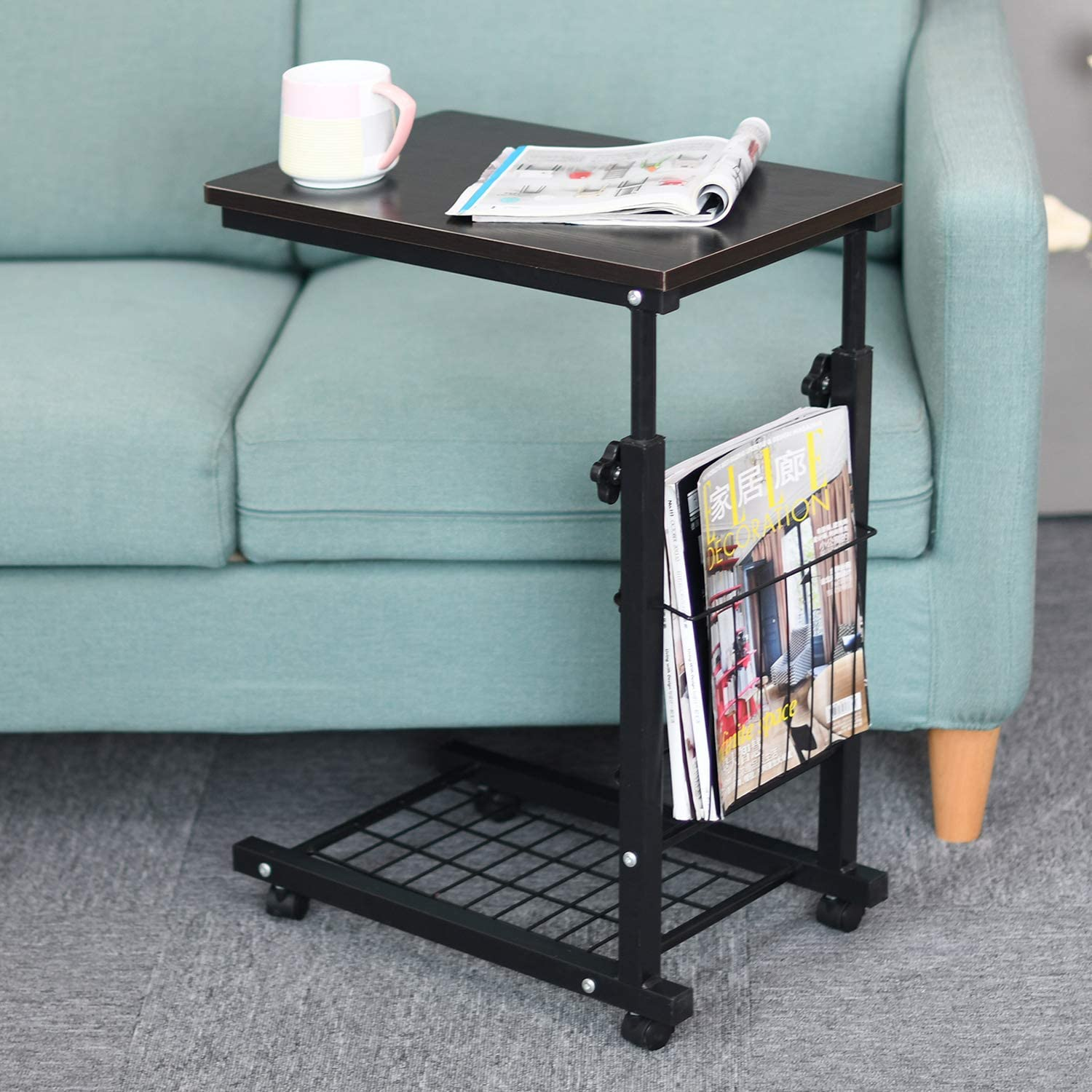 Sogesfurniture 18 9 Inches Height Adjustable Sofa Side Table End Table C Table Laptop Holder End Stand Desk Coffee Tray Walmart Canada