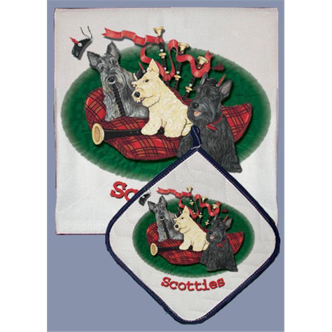 Pipsqueak Productions DP936 Dish Towel and Pot Holder Set - Scottish Terrier