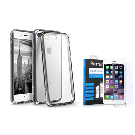 BasAcc Clear Crystal Hard Case Cover with Black TPU Bumper for Apple iPhone 8 Plus / iPhone 7 Plus (+ Tempered Glass Screen Protector) (2-in-1 Accessory -