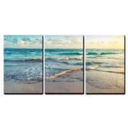 "wall26 - Sunrise on Atlantic Ocean - Canvas Art Wall Decor - 16""x24""x3 Panels"