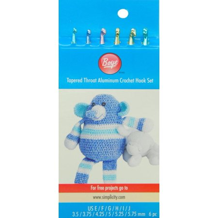 Boye Aluminum Crochet Hook Set, 6 Piece