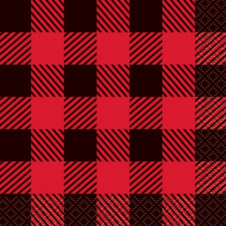 Buffalo Plaid Lumberjack Paper Beverage Napkins, 5in, 16ct](Party City Buffalo)