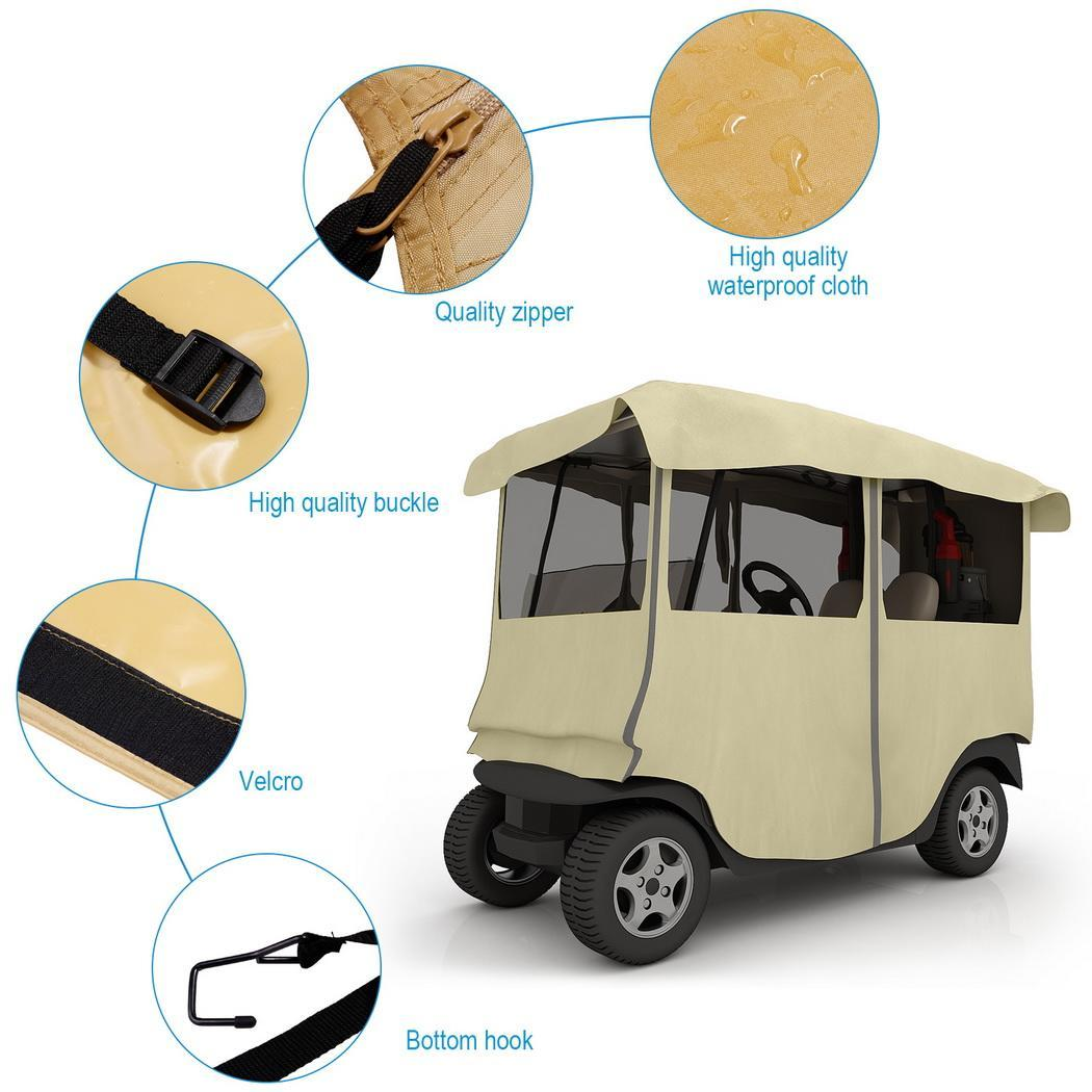 Waterproof 4-Sided Golf Cart Cover Golf Cart Drivable Enc...