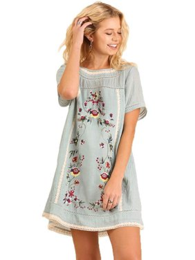 2d8821412ad Product Image Umgee Women s Light Blue Bohemian Embroidered Short Sleeve  Dress or Tunic