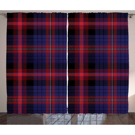 Checkered Curtains 2 Panels Set, Vibrant Colored Old Fashion Pattern Folkloric British Culture Inspired, Window Drapes for Living Room Bedroom, 108W X 96L Inches, Royal Blue Red Black, by Ambesonne