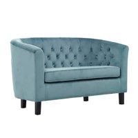 BSD National Supplies Bristol Classic Sky Blue Velvet Button Tufted Loveseat