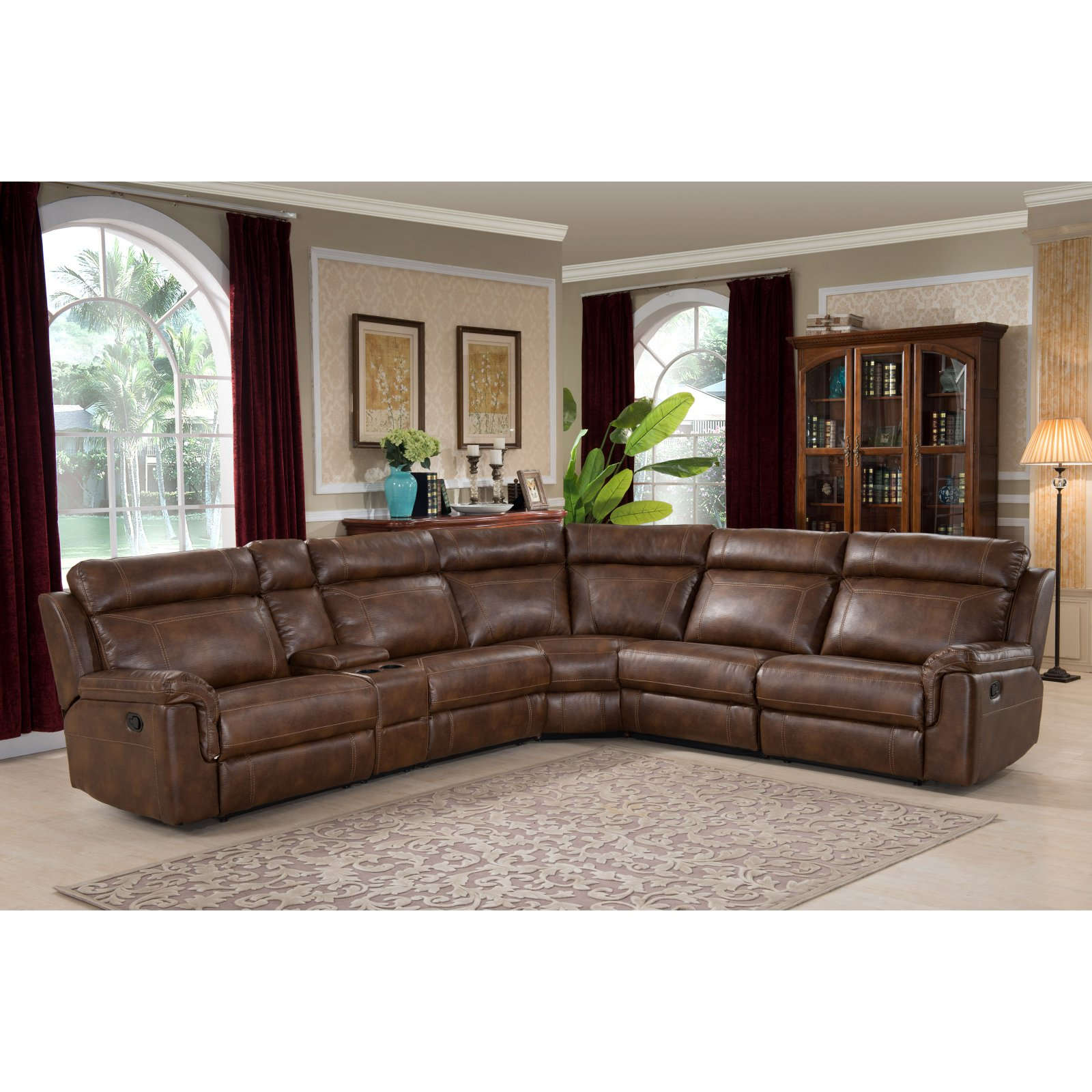 Christies Home Living Clark 6 Piece Reclining Living Room Sectional Sofa