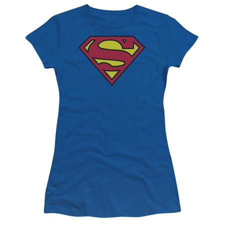 Superman - Classic Logo - Juniors Teen Girls Cap Sleeve Shirt - Large Lost Cap Sleeve T-shirt