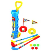 Champion Sport Children Kid's Toy Golf Golfing Playset w/ 5 Balls, 3 Clubs, 2 Practice Holes, 2 Flags (Colors May Vary)